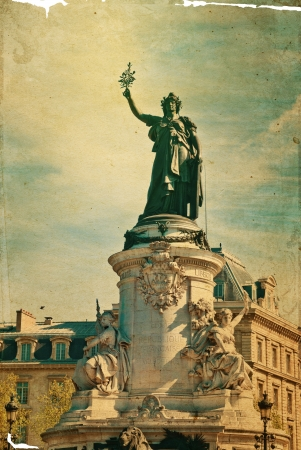 brandishing: The Famous Statue of the Republic in Paris. built in 1880 in the center of the place of the Republic. It symbolizes the victory of the Republic in France