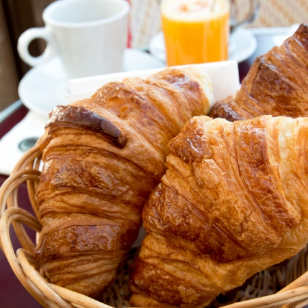 fresh croissant on table ,Delicious! Stock Photo