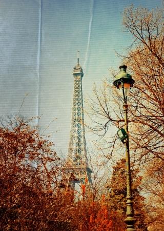 mooie Parijse zonneschijn Eiffeltoren (bijnaam La dame de fer, de ijzeren dame), is De toren uitgegroeid tot de meest prominente symbool van Parijs en Frankrijk Stockfoto