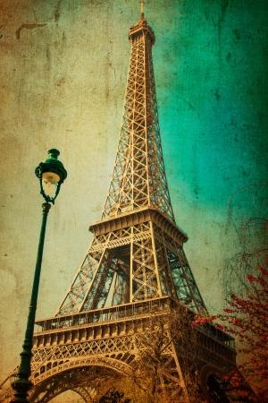 paris vintage: La Torre Eiffel (apodo de La dame de fer, la dama de hierro), La torre se ha convertido en el s�mbolo m�s destacado de Par�s y Francia