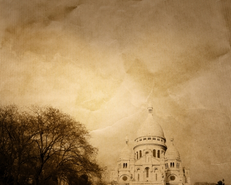 old-fashioned Sacre-Coeur church in Montmartre,paris photo