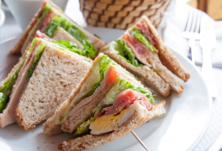 lunch buffet: Sandwich with bacon - chicken, cheese and lettuce