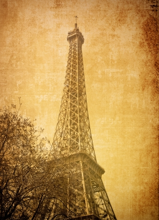 old-fashioned The Eiffel Tower (nickname La dame de fer, the iron lady),The tower has become the most prominent symbol of both Paris and France photo
