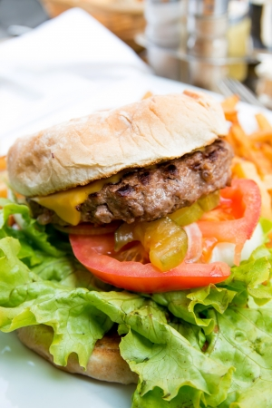 American cheese burger with fresh salad photo