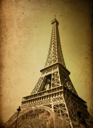 retro style Eiffel Tower (nickname La dame de fer, the iron lady),The tower has become the most prominent symbol of both Paris and France Stock Photo - 16287766