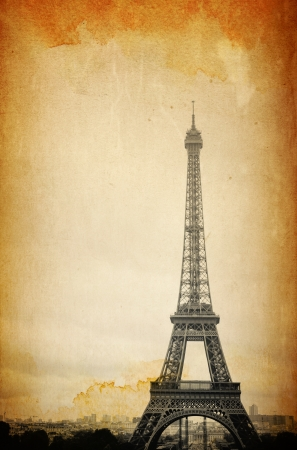 retro style Eiffel Tower (nickname La dame de fer, the iron lady),The tower has become the most prominent symbol of both Paris and France Foto de archivo