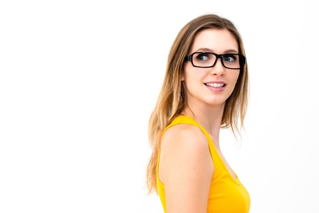 portrait of beautiful woman in glasses photo
