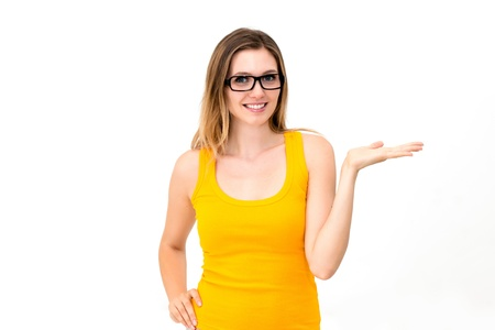 woman wearing glasses showing copy space on white background photo