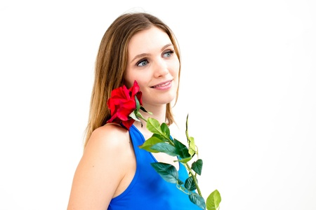 Beautiful woman with flower on white background photo