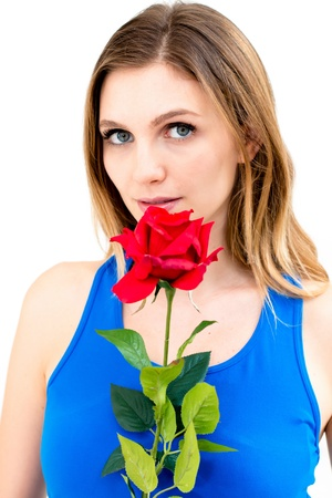 Beautiful woman with flower on white background Stock Photo - 16575338
