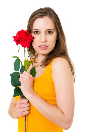 woman with red rose isolated on white background photo