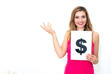 portrait young woman with board dollar mark Stock Photo - 16665758