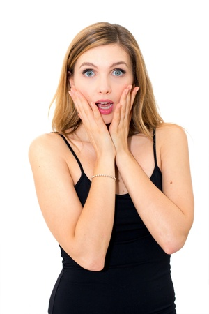 surprised young woman with hands over her mouth on white background photo