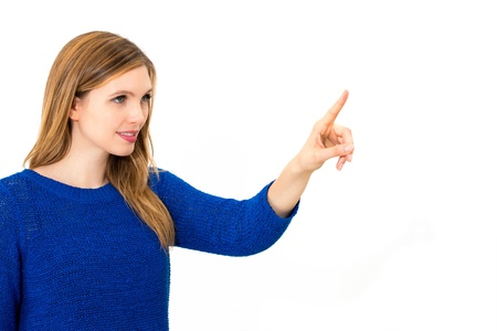 woman pointing or pushing something with index finger. photo
