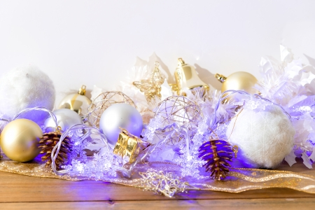 christmas balls over White background photo