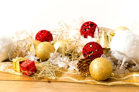 Christmas gift boxes over White background photo