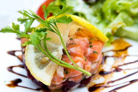 Fresh seafood salad with smoked salmon Stock Photo - 17212540