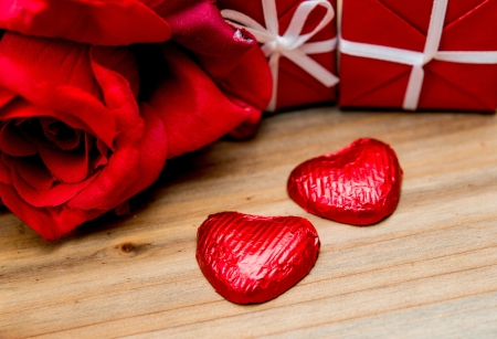 chocolate, gift box and flowers for Valentine photo
