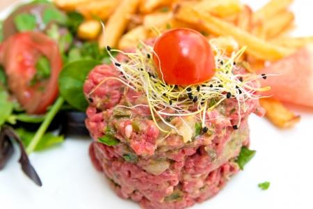 tartare: tasty tartare(Raw beef) - classic steak tartare on white plate