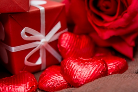 gift box, chocolate and flowers for Valentines day photo