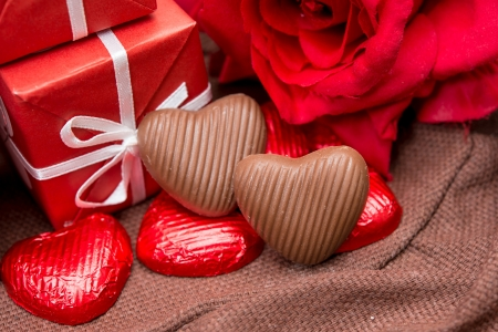 gift box, chocolate and flowers for Valentine's day photo