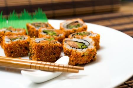 fresh sushi traditional japanese food on table Stock Photo - 17679852