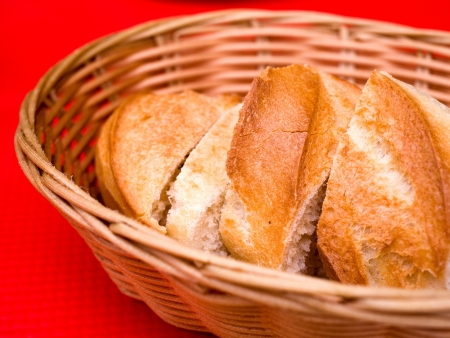 bread in basket - little roll breads in basket on table Stock Photo - 17679699