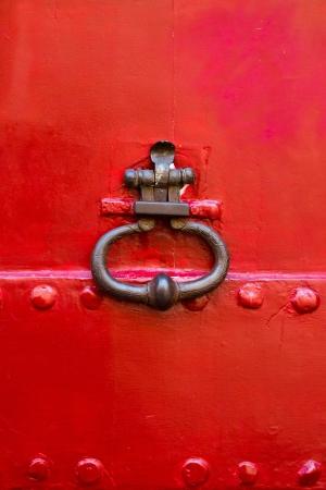 Old wooden door with metal handle Stock Photo - 17743413