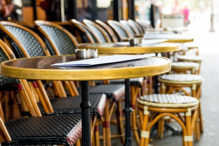 Street view of a coffee terrace with tables and chairs,paris France Stock Photo - 17743314