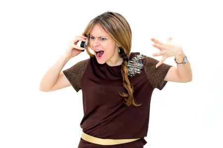 angry woman making a phone call over white background photo