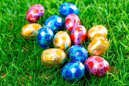 group of Colorful Easter Eggs photo