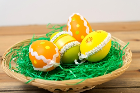 Colorful easter eggs in basket on spring green grass Stock Photo - 18459835