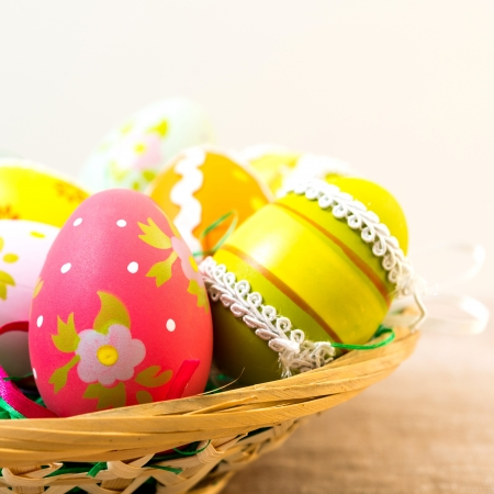 Colorful easter eggs in basket Stock Photo - 18459833