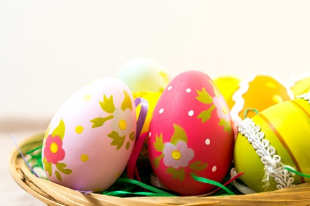 Colorful easter eggs in basket Stock Photo - 18459843
