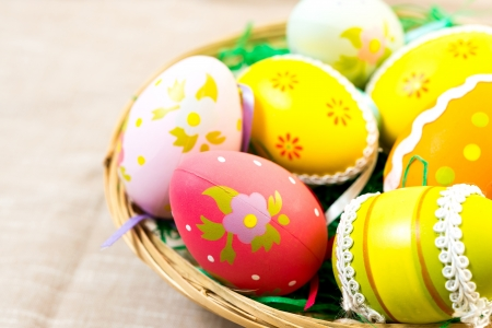 Colorful easter eggs in basket photo