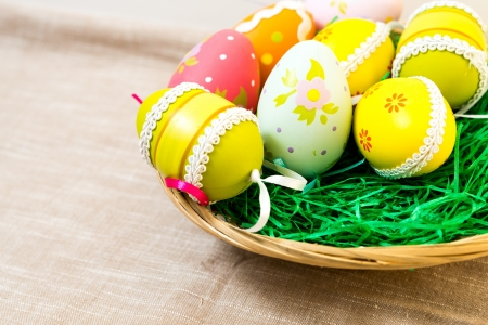 Colorful easter eggs in basket Stock Photo - 18459836