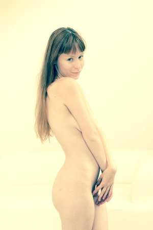 beautiful young attractive nude caucasian woman  photo