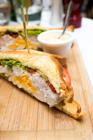 Sandwich with chicken, cheese and golden French fries potatoes Stock Photo - 18689529