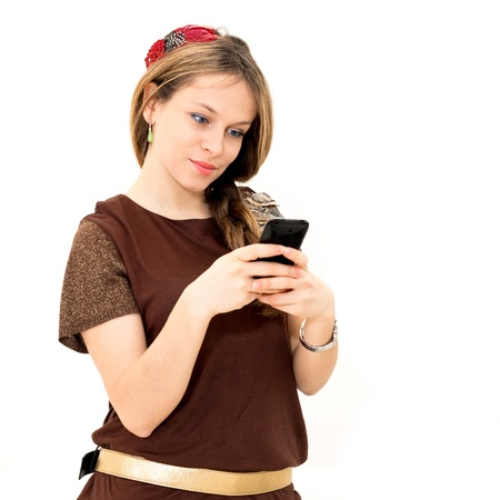 young woman which read by phone on white background photo
