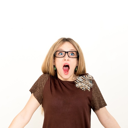 woman in glasses screaming. against a white background. Stock Photo - 19278664