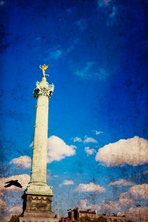 retro style Place de la Bastille in Paris, France photo