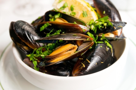 Mussel with white wine sauce on table Stock Photo - 19463044