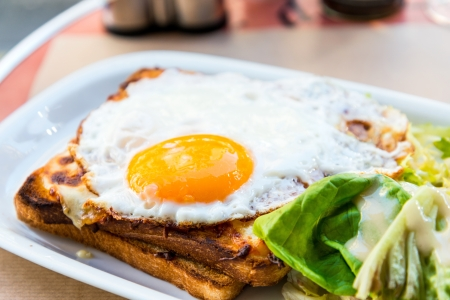 Traditional French Toasted Sandwich - croque madame photo