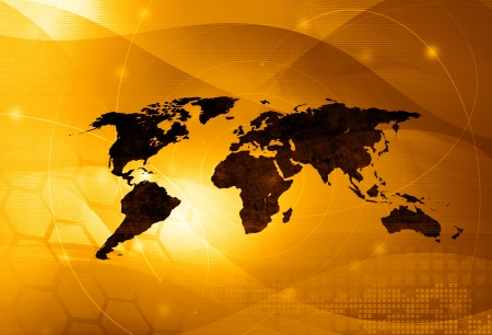 virtual world: world map technology style - perfect background with space for text or image