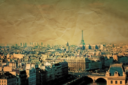 retro style paris france -  with space for text or image photo
