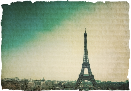 parisian scene: retro style Eiffel Tower  nickname La dame de fer, the iron lady ,The tower has become the most prominent symbol of both Paris and France