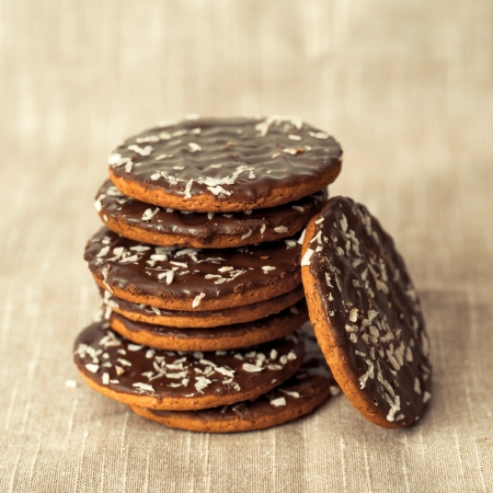 Chocolate chips cookies on brown napkin  photo