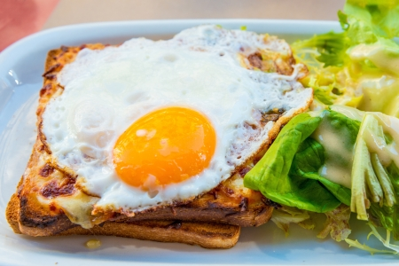 toasted sandwich: Traditional French Toasted Sandwich - croque madame