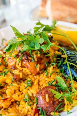 Prawn with rice closeup traditionnal spanish food paella photo