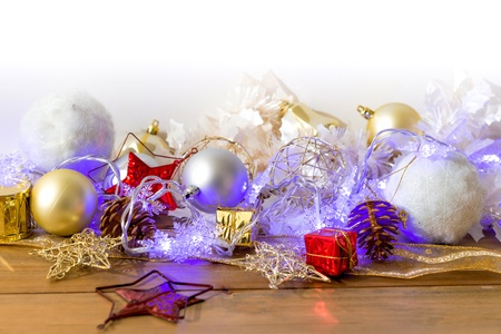 christmas decoration over lights background Stock Photo - 20831880